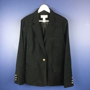 Orvis One Button Lined Blazer Plus Size